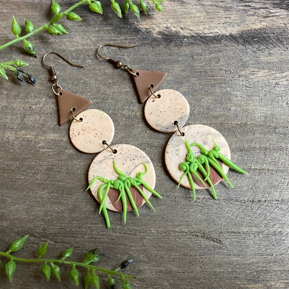 Hand Crafted Jewelry - Hand crafted 3D succulent polymer clay earrings